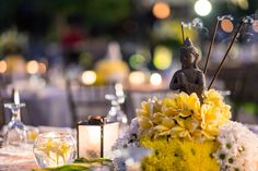 Buddha Inspired Centrepiece with real burning incense stick
