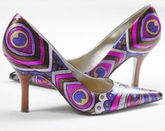 Hand painted shoes- Peacock Pink Lady Pumps- painted heels