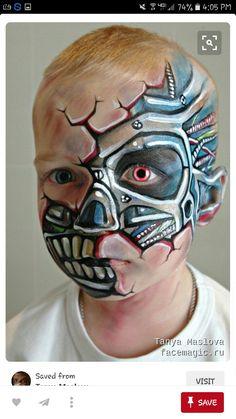 Face paint by Tanya Maslova. Monster Face Painting, Face Painting For Boys, Back Painting, Face Painting Designs, Costume Batman, Cyborg Costume, Costume Halloween, Halloween Makeup, Halloween 2019