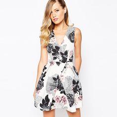 White Black V Neck Floral Printed Summer Casual Dress