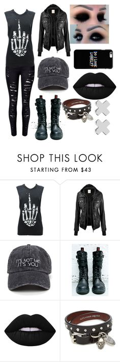 """Untitled #18"" by boredandweird ❤ liked on Polyvore featuring Demonia, Lime Crime, Alexander McQueen and Witchery"