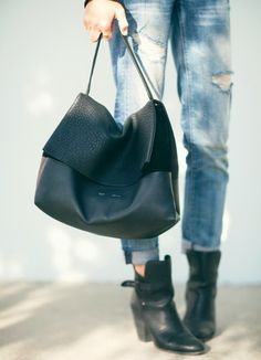 Rock  n  Roll Style ☆ Celine All Soft Tote Bag, Perfect boots fades ripped  jeans. 916806c3a74