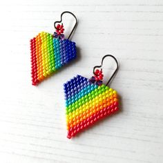 Rainbow Heart Titanium Earrings - The British Craft House Craft House, Earring Box, Rainbow Heart, Brick Stitch, Beautiful Gifts, Lampwork Beads, Rainbow Colors, Home Crafts, Hand Stamped