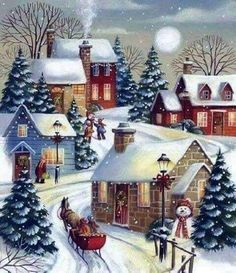 Autone Christmas Snow Scene DIY Full Diamond Embroidery Painting Cross Stitch Craft Home *** You could get added information at the photo web link. (This is an affiliate link). Noel Christmas, Vintage Christmas Cards, Winter Christmas, Christmas Crafts, Christmas Decorations, Xmas, Winter Snow, Christmas Greetings, Christmas Christmas