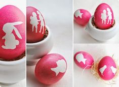 Make easy DIY silhouette Easter eggs using contact paper. For natural eggs, boil eggs in red onion skins, or check my Egg Hunt album for other natural dyes! Easter Egg Dye, Hoppy Easter, Easter Party, Easter Bunny, Easter Egg Designs, Easter Ideas, Diy Ostern, Easter Celebration, Easter Holidays