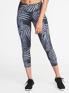 0650d237de124 Mid-Rise Mesh-Panel Run Crops for Women. Yoga Wear, Printed Leggings ...