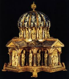 Domed Head Reliquary  c. 1175  Gilt copper, champlevé enamel and walrus tusk on wood, height 45 cm  Kunstgewerbemuseum, Berlin