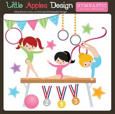 Gymnastic Clip Art / Gymnastic Clipart / by LittleApplesDesign, $5.00
