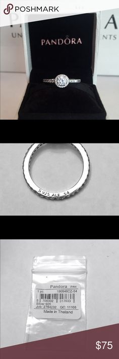 Authentic Pandora Classic Elegance Ring W/ Tags. Sterling Silver with Cz's. Hallmark Stamp S 925 ALE. You will receive the Pandora Ring Tag and Pandora Box. Thank you. PANDORA Jewelry Rings