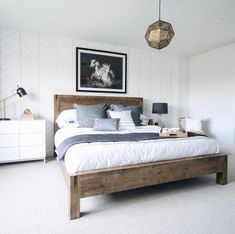 HAMBURG Acacia wood queen-size bed Our Hamburg bed is looking absolutely gorgeous in room ✨ Wood Bedroom Sets, Bedroom Furniture, Bedroom Decor, Kitchen Furniture, Master Bedroom, Construction Bedroom, Minimalist Room, Wood Beds, New Beds