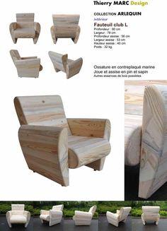 fauteuil club design vintage thierry marc bois recyclé