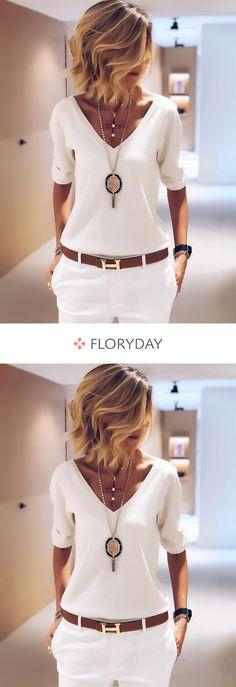 Solid V-neckline long sleeve blouses, elegant tops, style, preorder. Trendy Dresses, Women's Fashion Dresses, Elegant Dresses, Nice Dresses, Fall Dresses, Look Fashion, Trendy Fashion, Autumn Fashion, Womens Fashion