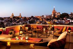 Luna Rooftop Tapas Bar in Mexico: There's no better place to unwind after a day of exploring this magical colonial Mexican city than the tapas bar crowning the luxurious Rosewood San Miguel de Allende hotel. The view of the town's historic district and the magnificent neo-Gothic church, La Parroquia de San Miguel Arcángel, designed by self-taught architect Zeferino Gutiérrez, is unrivaled.rosewoodsanmiguel.com