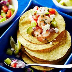 "Shrimp ""Ceviche"" Tostadas by Sunset Magazine. Shrimp ""Ceviche"" Tostadas are made by mixing cooked shrimp with a lime dressing and can be served on tostada shells or as a dip with chips on the side."