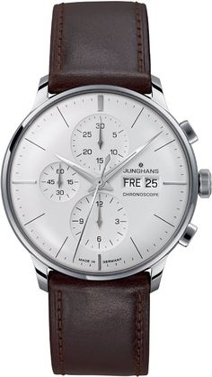 Junghans meister stainless steel and leather chronoscope watch Dream Watches, Luxury Watches, Cool Watches, Watches For Men, Watches Usa, Patek Philippe, Nato Armband, Herren Chronograph, Timex Watches