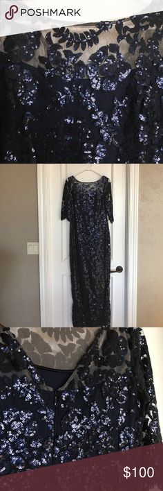 Worn once** Navy, sequined maxi dress. Calvin Klein. Size 6. Worn once. Side slit. Lined. Calvin Klein Dresses Maxi