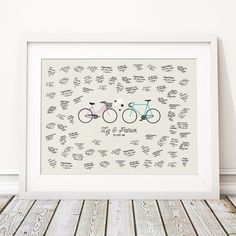 This beautiful (unframed) 'BIKE' wedding guest book print makes the perfect unusual alternative to the traditional guest book and is personalised with the couples names and wedding date. Perfect for cyclists and fixed gear bike fans! Available in 4 sizes, with spaces around the couples names for all your guests well wishes and signatures. The print can be done in one of our standard colours or customised in any colour you like to match your theme or the colour of your bikes. You can have…