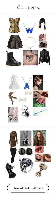 """""""Crossovers"""" by rosemarie-lestrange ❤ liked on Polyvore featuring Mairi Mcdonald, Dr. Martens, Karl Lagerfeld, LE3NO, Sphera, Bling Jewelry, WithChic, Doublju, Old Navy and S.W.O.R.D."""
