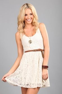 white Spring dress - with cowboy boots would be so cute!