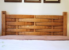 Headboard made from wine barrel.