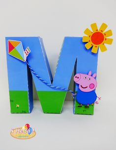 Letra 3D Cumple George Pig, Peppa E George, George Pig Party, Bolo Da Peppa Pig, Cumple Peppa Pig, Second Birthday Ideas, 3rd Birthday, Wooden Initials, Wooden Names