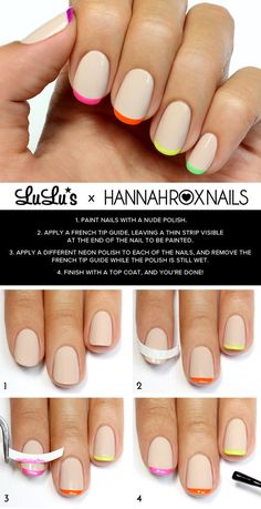 Nude And Neon French Tips | 29 DIY Nail Tutorials You Need To Try This Spring