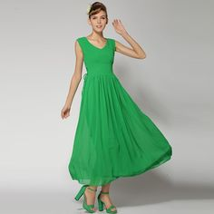 Drawstring Tight Waist V-Neck Chiffon Sleeveless Maxi Dress