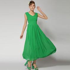 Drawstring Tight Waist V-Neck Chiffon Sleeveless Maxi Dress