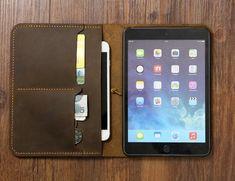 Personalized Vintage Distressed genuine real leather iPad mini 2 3 4 case cover sleeve / iPad mini o