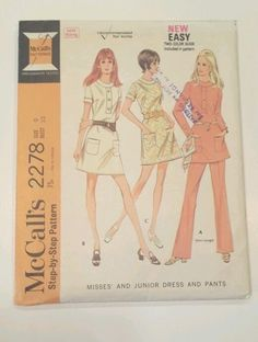 McCalls Step-by-Step Pattern #2278. Uncut sewing pattern with original instructions. Misses and Junior. Darted mini dress and matching pants. Patch pockets, center back zipper, button trimmed front. Writing, wear and tear to envelope from age and storage. | eBay!