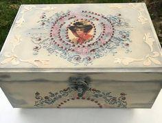 Decorative Decoupage Box .Home Decor.Handmade with love.Jewelry box.Keepsake box.Vintage.Shabby box