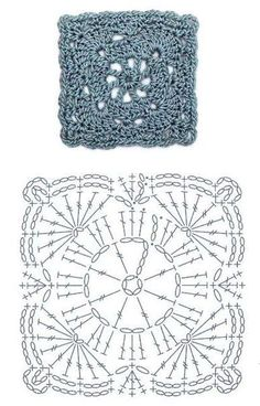 How to Crochet a Solid Granny Square Crochet Motif Patterns, Granny Square Crochet Pattern, Crochet Blocks, Crochet Diagram, Crochet Chart, Crochet Squares, Diy Crochet, Granny Squares, Loom Knitting
