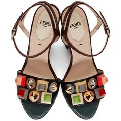Fendi Multicolor Rainbow Sandals (€1.065) ❤ liked on Polyvore featuring shoes, sandals, heels, peep toe sandals, block heel shoes, studded sandals, multi color sandals and fendi sandals