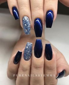 There are three kinds of fake nails which all come from the family of plastics. Acrylic nails are a liquid and powder mix. They are mixed in front of you and then they are brushed onto your nails and shaped. These nails are air dried. Blue And Silver Nails, Navy Nails, Gorgeous Nails, Pretty Nails, Amazing Nails, Sparkle Acrylic Nails, Silver Sparkle Nails, Blue Glitter Nails, Acrylic Nails Pastel