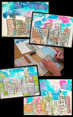 Morning Cityscapes: Fun with Recycled Maps - create colorful skies, play with foreground and background, and integrate art with Science or Social Studies.