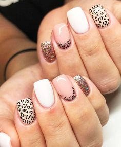 Get Nails, Fancy Nails, Love Nails, Cute Easy Nails, Pretty Nails, Cute Acrylic Nails, Acrylic Nail Designs, Cheetah Nail Designs, Animal Nail Designs