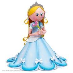 Princesa Azul Moldes con Paso a Paso