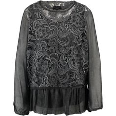 """H Trend"" Slate Grey Lace & Silk Mix Blouse - TK Maxx"