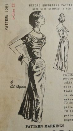 Spadea American Designer Ceil Chapman 1251 Draped Dress 1958 Sz12/35/25/36 Uncut FF Unprinted 119.73+free 6bds 7/24/14 1Pc evening dress w/bias cut draping & softly pleated bodice.Bias cut layering off shoulder short sleeves cut in 4 pieces.The back forms a deep V w/collar.The fitted straight skirt w/inverted pleats at side waistband & back forms a dramatic pleated & draped fantail. Back zipper closing.