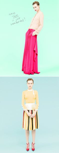 I adore the long pink skirt. The bottom one has great lines, too...