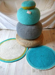 Round Rug floor crochet 100cm.