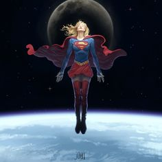 First from my new series inspired by super heroes, the art of the comic book and film. This image imagines Supergirl as she meditatively hovers above the earth. Kara Danvers Supergirl, Supergirl Comic, Marvel Girls, Comics Girls, Arte Dc Comics, Marvel Comics, Comic Book Characters, Comic Character, Detective Comics