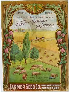 A pastoral scene, framed with a border of clover and corn, is featured on the 1905 Farmer Seed & Nursery catalog.  In the scene, cows grazing in the front pasture are being milked by a milkmaid, while a bumper crop of wheat is being harvested and shocked.  The farmstead and barns can be seen off in the distance.  Farmer Seed & Nursery originated in Faribault, MN in 1888. Andersen Horticultural Library hosts a collection of vintage Farmer Seed & Nursery catalogs.