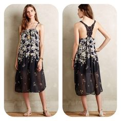 NWOT Verano Floral Dress Petite Medium Loose fit, light, and breezy! Pullover style with lace back details. Lined. Tag says machine washable. This dress is a medium Petite! Never worn! Brand new... I don't remember if the tag is still on but will check and update later! Anthropologie Dresses Midi