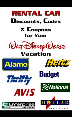 Links to rental car discounts for ALL of the major rental agencies in Orlando