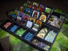 Custom Tray for Arkham Horror made from black foamcore. Board Game Organization, Board Game Storage, Tcg Games, Play More Games, Eldritch Horror, Deck Box, Card Storage, Card Organizer, Foam Crafts