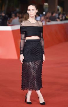 Rooney Mara in a sheer, perfectly moody two-piece set by Balenciaga