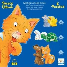 """Misty & Friends - 6 Progressive Puzzles (4,6,9 Pieces) by Papo. $17.95. Average height of each puzzle is 8.5"""" and total height of the puzzles when stacked is 51"""".. Great beginning puzzle set for pre-schooler. Each puzzle is the shape of the character.. 3 levels of puzzles; 4 pieces, 6 pieces and 9 pieces, 2 puzzles each.. Variety of colors make the puzzle pieces easier to sort (the first step in putting them together) by color.. Djeco puzzles consist of heavy cardboard ..."""