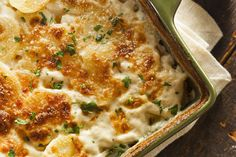 Creamy layers of potatoes flavored with sweet, thinly sliced onion rings, gooey cheese and a light crust:  Scalloped potatoes  are perfect comfort for blustery weather (Incl. tested techniques & tips)