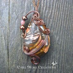 Wire Wrapped Necklace- Brown Autumn Jasper Pendant